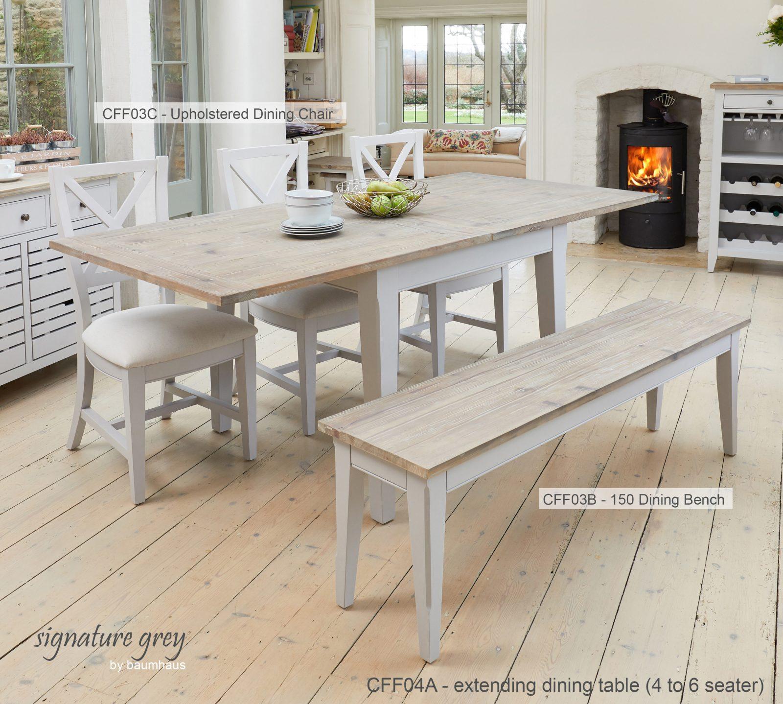 Baumhaus Signature Grey Extending Dining Table Bargain Oak
