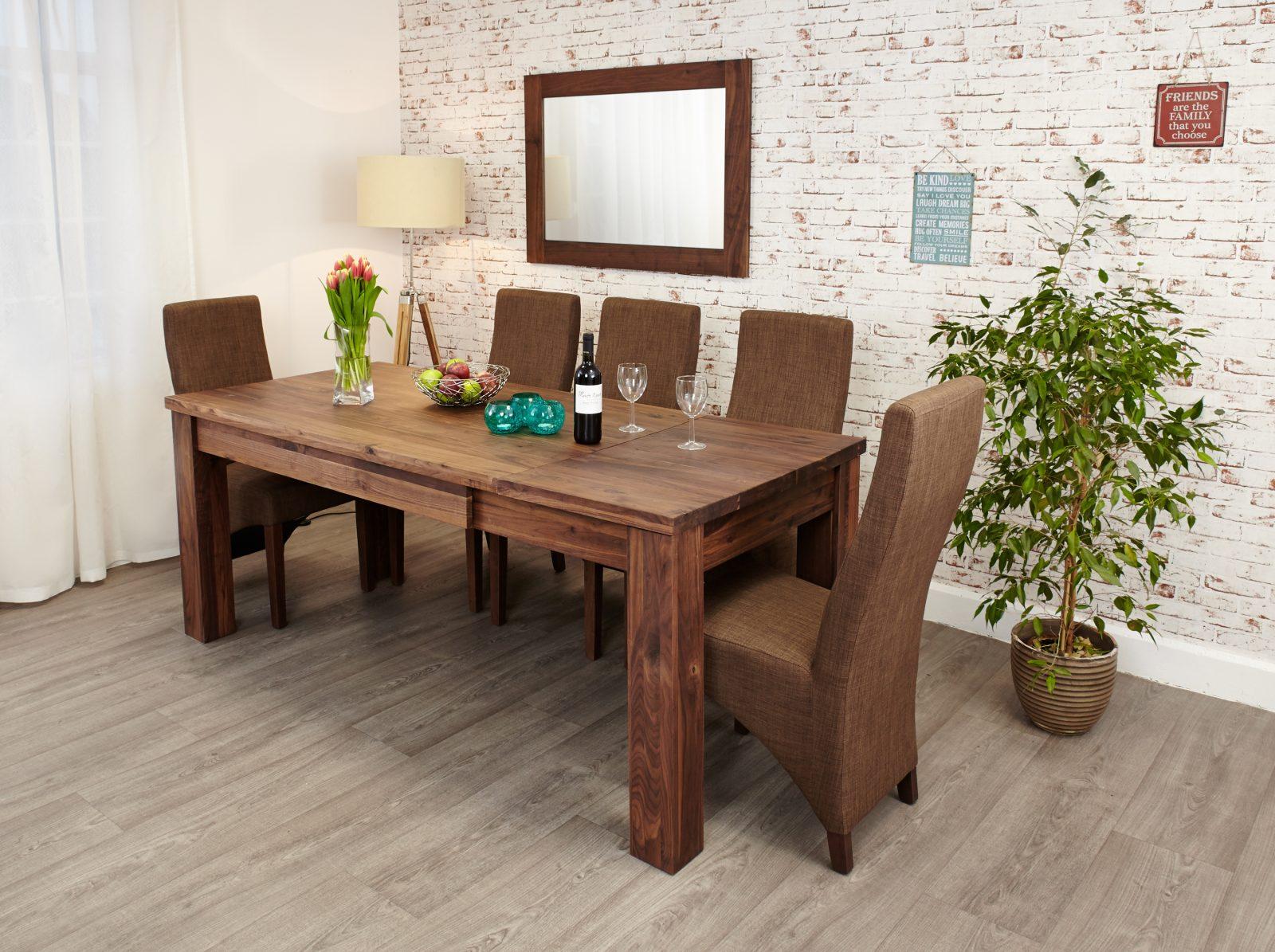 Baumhaus Mayan Walnut Extending Dining, Walnut Dining Room Furniture Uk